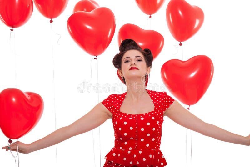 Uśmiechnięta młoda atrakcyjna dziewczyny kobieta z czerwonymi wargami odizolowywać obraz royalty free