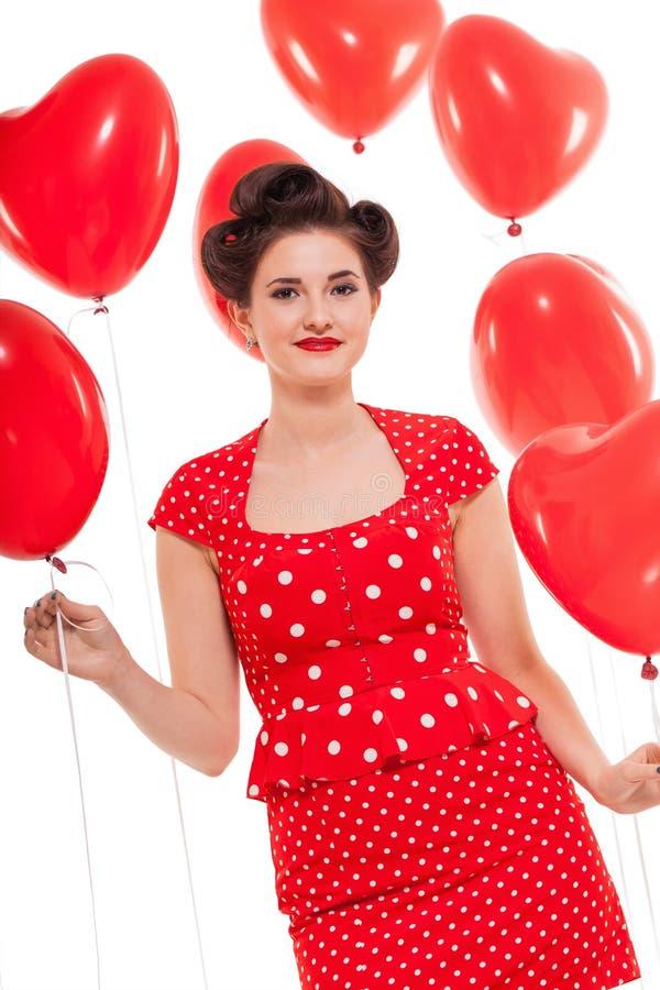 Uśmiechnięta młoda atrakcyjna dziewczyny kobieta z czerwonymi wargami odizolowywać fotografia royalty free
