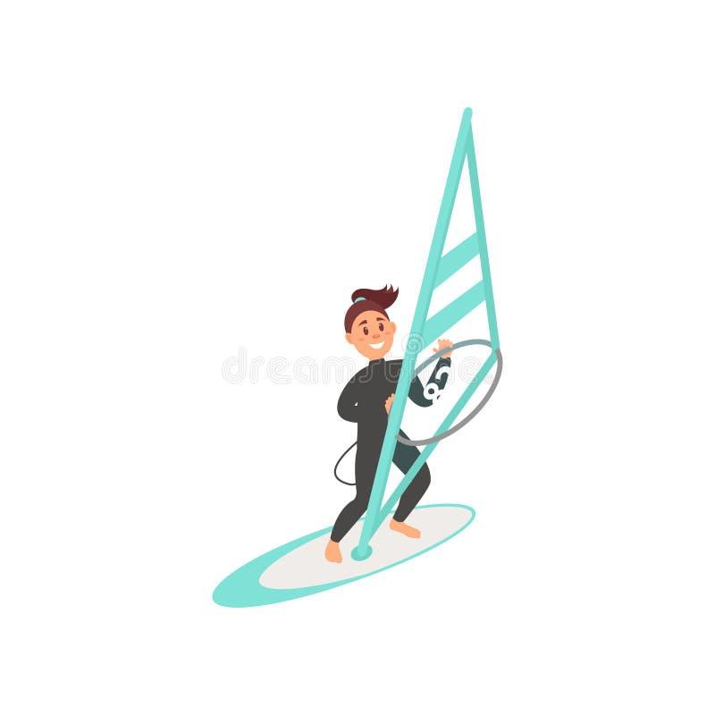 Uśmiechnięta młoda dziewczyna angażująca w windsurfing Kobieta stoi na pokładzie żagla z Lata morza aktywność Płaski wektorowy pr ilustracji