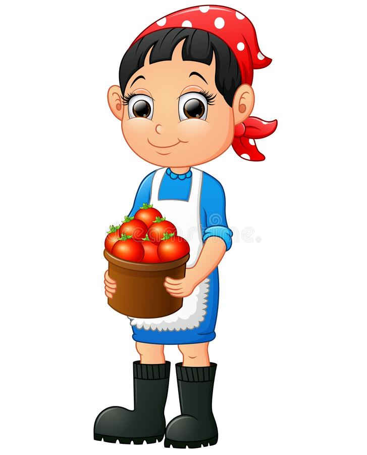 Uśmiechnięta młoda kobieta trzyma kosz pomidory ilustracja wektor