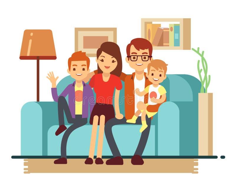 Uśmiechnięta młoda szczęśliwa rodzina na kanapie Mężczyzna, kobieta i ich dzieci w żywej izbowej wektorowej ilustraci, ilustracji