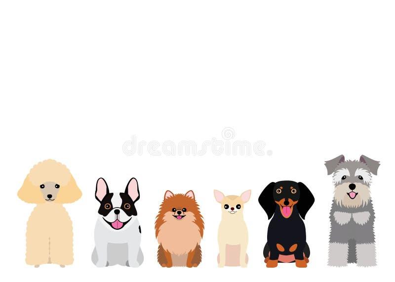 Uśmiechnięta mała pies grupa ilustracja wektor