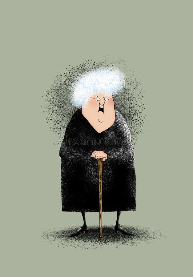 Uśmiechnięta Mała Stara dama ilustracja wektor