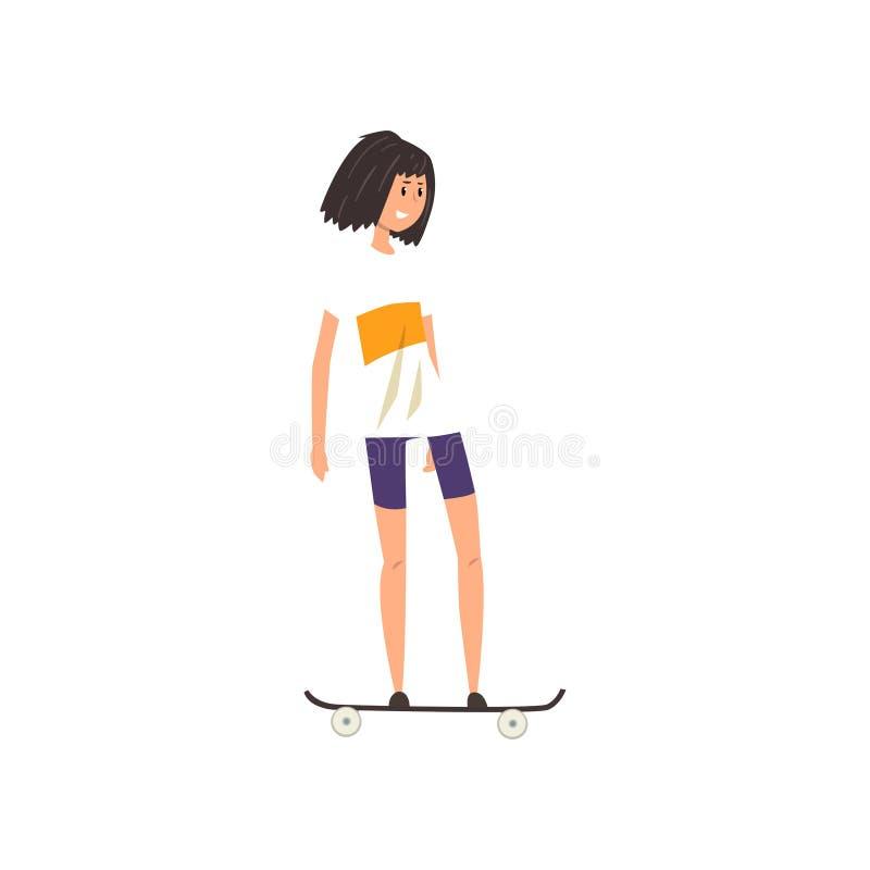 Uśmiechnięta nastoletnia dziewczyna scateboarding, aktywnej zdrowej stylu życia pojęcia kreskówki wektorowa ilustracja na białym  royalty ilustracja
