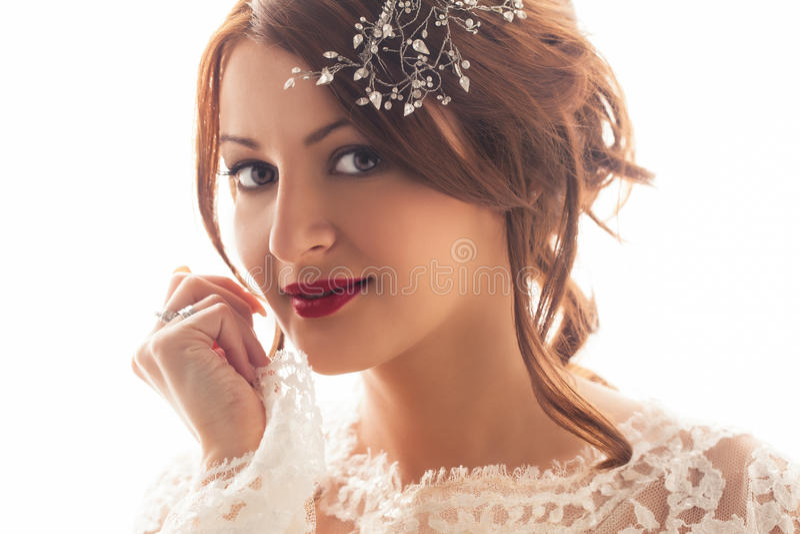 Uśmiechnięta panna młoda fotografia royalty free