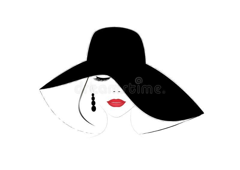 Uśmiechnięta piękna kobiety twarz z zamkniętymi oczami i czerwonymi wargami w szerokim być wypełnionym czymś kapeluszu, horyzonta ilustracji