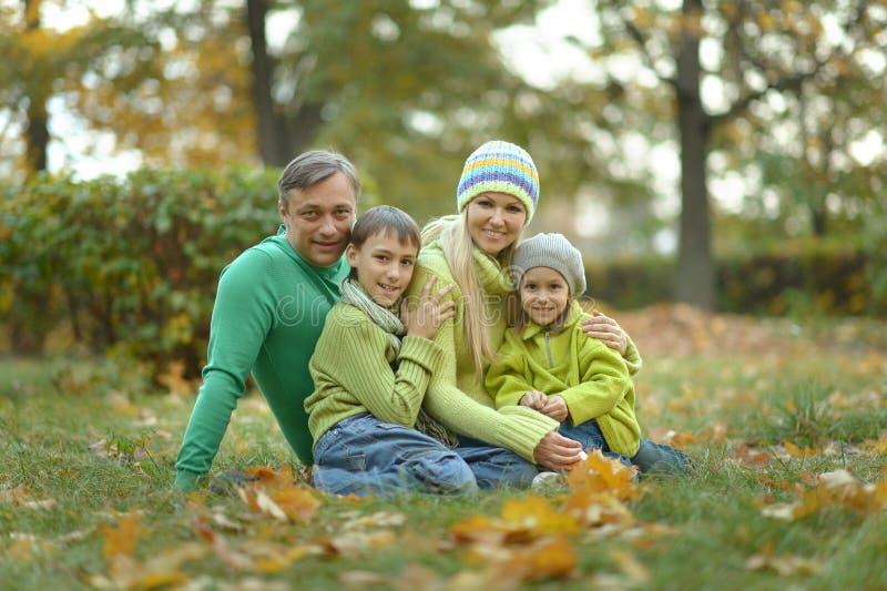 Uśmiechnięta rodzina relaksująca się w jesiennym lesie zdjęcia stock