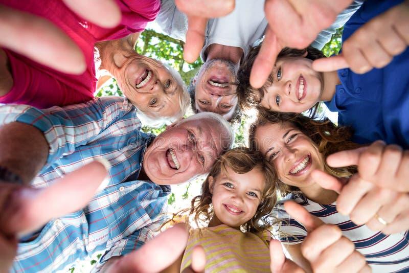 Uśmiechnięta rodzinna pozycja w okręgu obraz stock