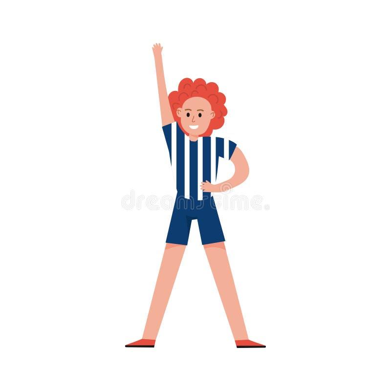 Uśmiechnięta sporta fan dziewczyna jest ubranym arbitra jednolitego postać z kreskówki, sport drużyny poparcia wektoru ilustracja ilustracja wektor