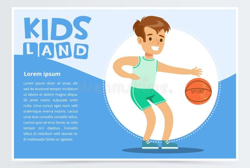 Uśmiechnięta sportive chłopiec bawić się koszykówkę, dzieciaki ląduje sztandaru płaskiego wektorowego element dla strony internet royalty ilustracja