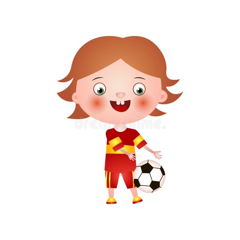 Uśmiechnięta szczęśliwa chłopiec bawić się z piłką odizolowywającą na białym tle ilustracja wektor