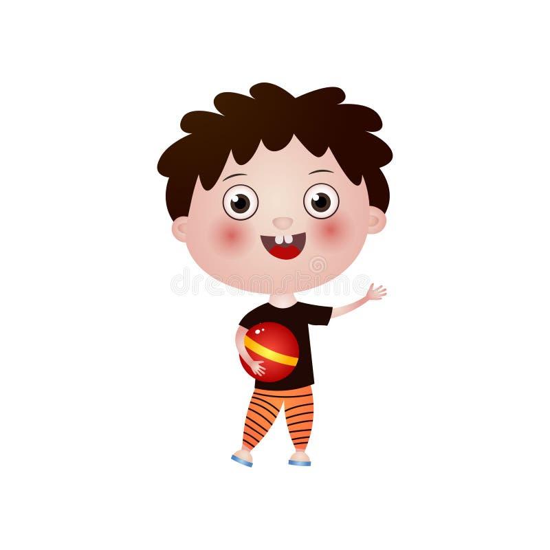 Uśmiechnięta szczęśliwa chłopiec trzyma piłkę w jego ręce odizolowywającej na białym tle ilustracji