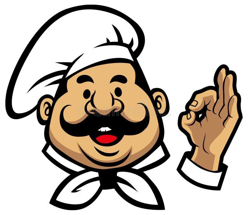 Uśmiechnięta szef kuchni twarz royalty ilustracja