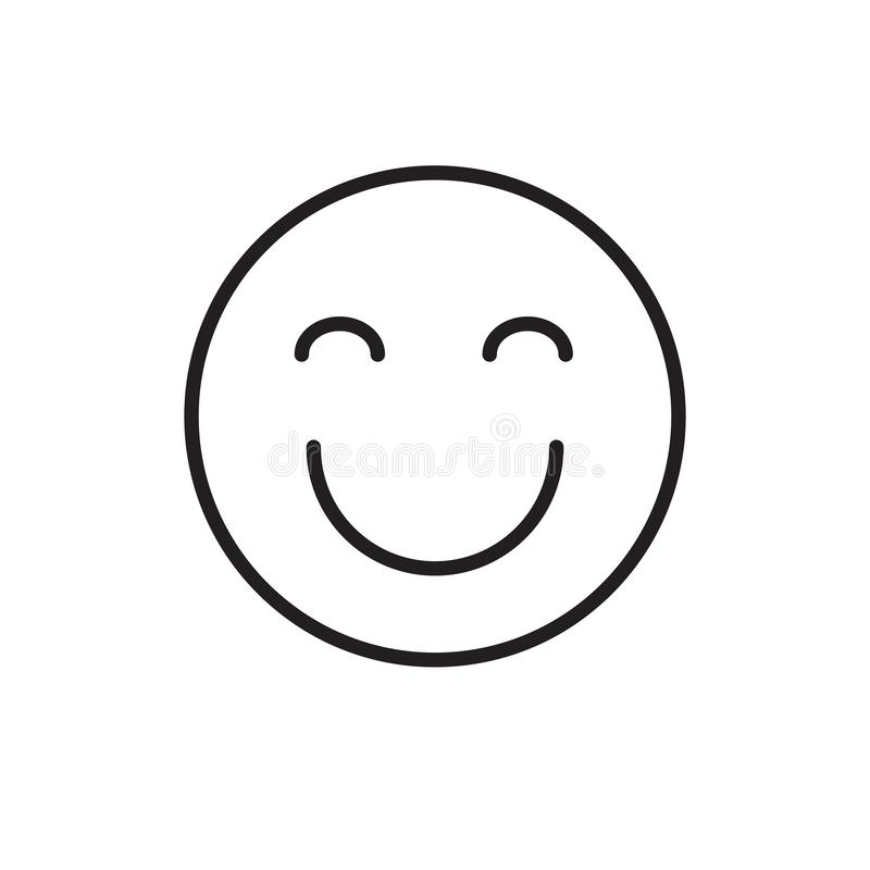 Uśmiechnięta twarz Zamykający kreskówek oczu emoci ikony Pozytywni ludzie royalty ilustracja