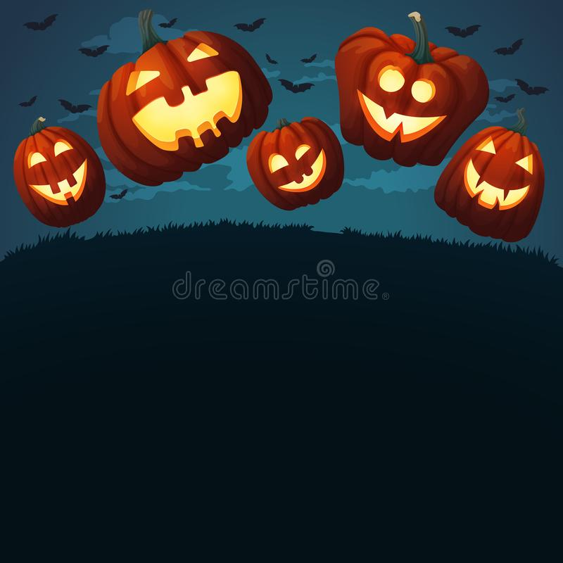 Uśmiechnięte banie skacze na trawie Straszny zmrok - błękitny tło royalty ilustracja