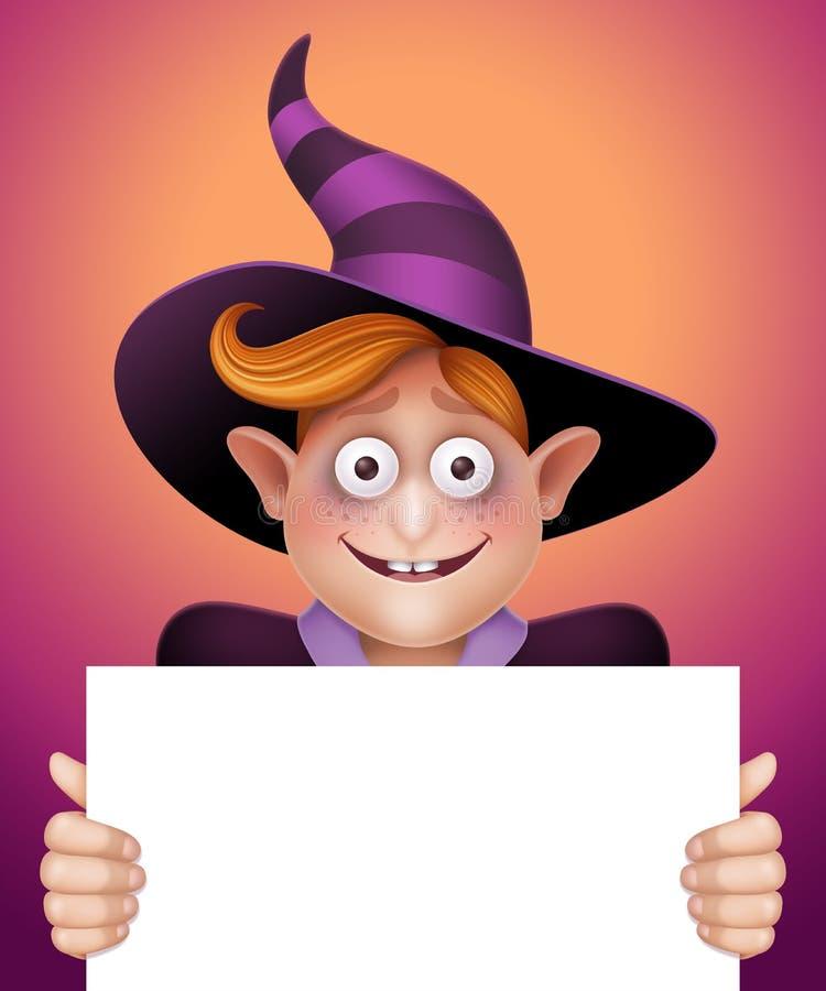 Uśmiechniętego czarownik chłopiec mienia wiadomości pusta karta, Halloweenowa sztandar ilustracja ilustracji