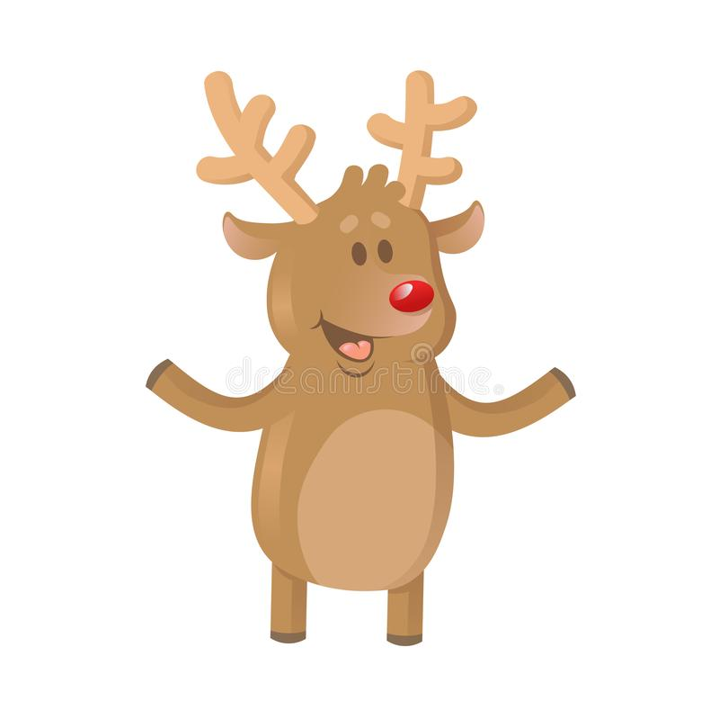 Uśmiechniętego kreskówki brązu dźwigania reniferowe ręki Kartka bożonarodzeniowa element Płaska wektorowa ilustracja Odizolowywaj ilustracji
