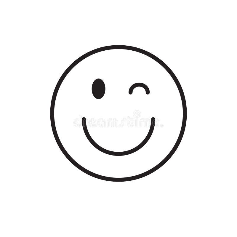 Uśmiechniętego kreskówki twarzy mrugnięcia emoci ikony Pozytywni ludzie ilustracji