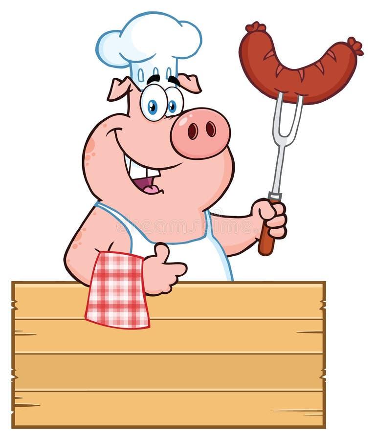 Uśmiechniętego szefa kuchni kreskówki maskotki Świniowaty charakter Trzyma kiełbasę Na Bbq rozwidleniu Nad Drewnianym znakiem Daj ilustracji