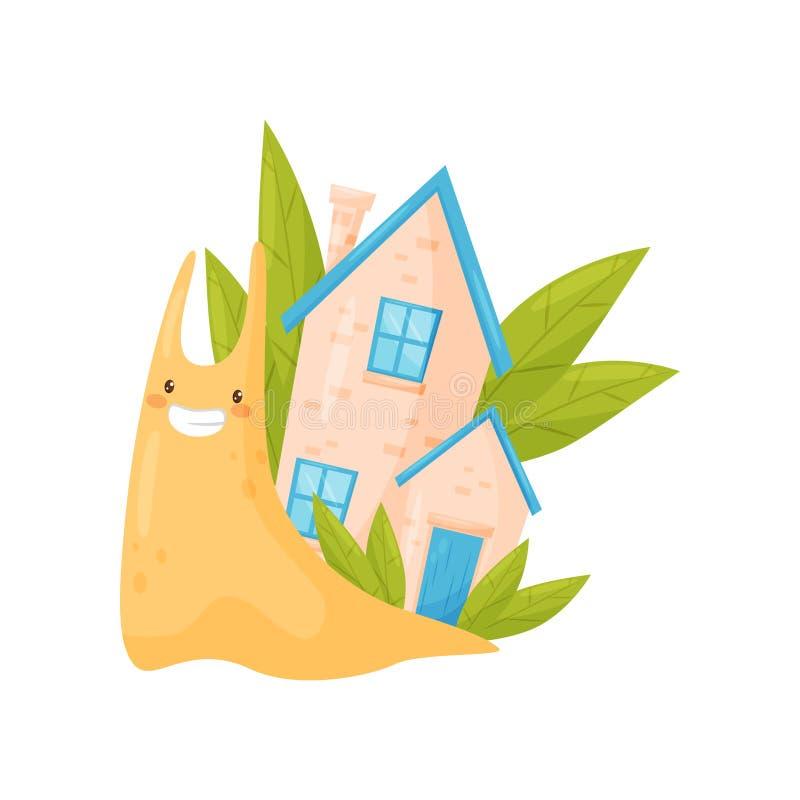 Uśmiechnięty ślimaczek z ślicznym wygodnym domem na swój tylnej, śmiesznej mollusk postaci z kreskówki wektorowej ilustracji na b ilustracji