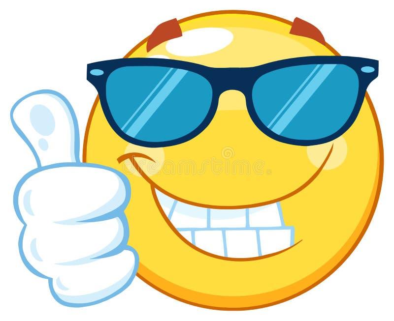 Uśmiechnięty Żółty Emoticon kreskówki maskotki charakter Z okularami przeciwsłonecznymi Daje kciukowi Up royalty ilustracja