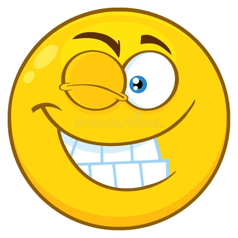 Uśmiechnięty Żółty kreskówki Smiley twarzy charakter Z mrugnięcia wyrażeniem ilustracji