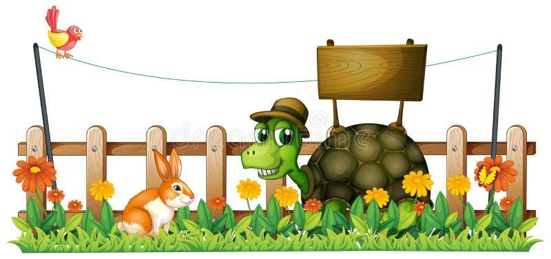 Uśmiechnięty żółw przed pustym signboard ilustracja wektor