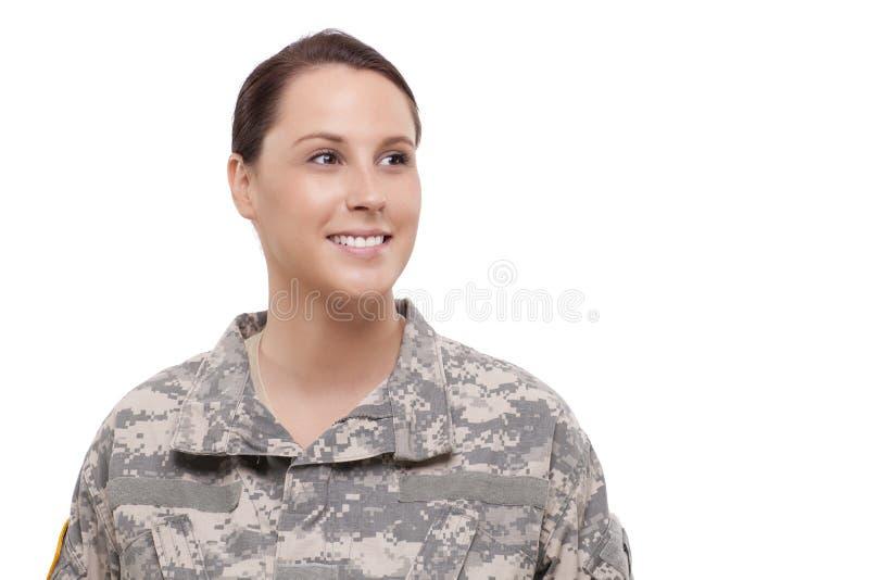 Uśmiechnięty żeński żołnierz zdjęcia royalty free