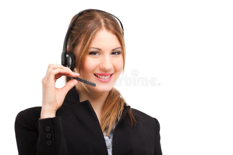 Uśmiechnięty żeński centrum telefoniczne operator obrazy stock