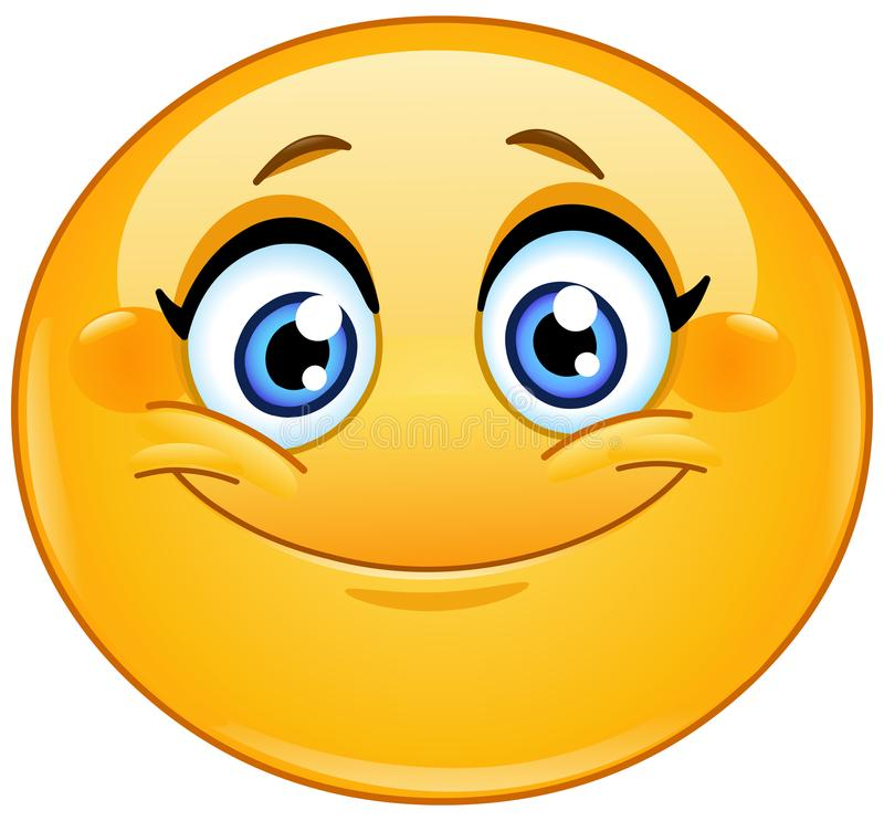 Uśmiechnięty żeński emoticon ilustracji