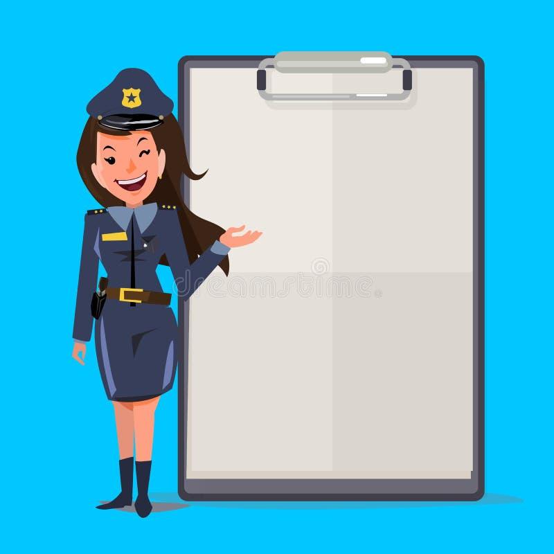 Uśmiechnięty żeński funkcjonariusz policji z raportu papierem prezentacja co ilustracji