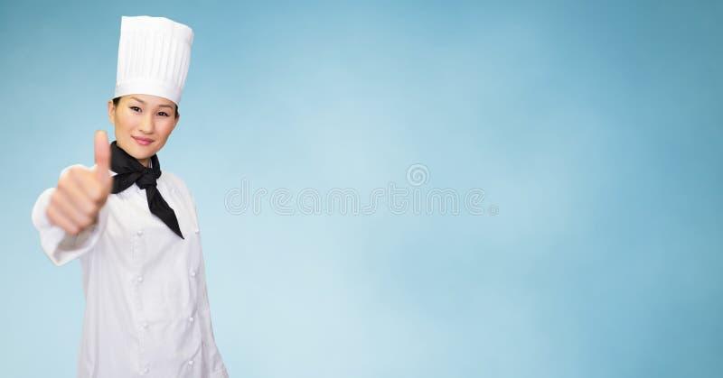 Uśmiechnięty żeński szef kuchni daje aprobata znakowi royalty ilustracja