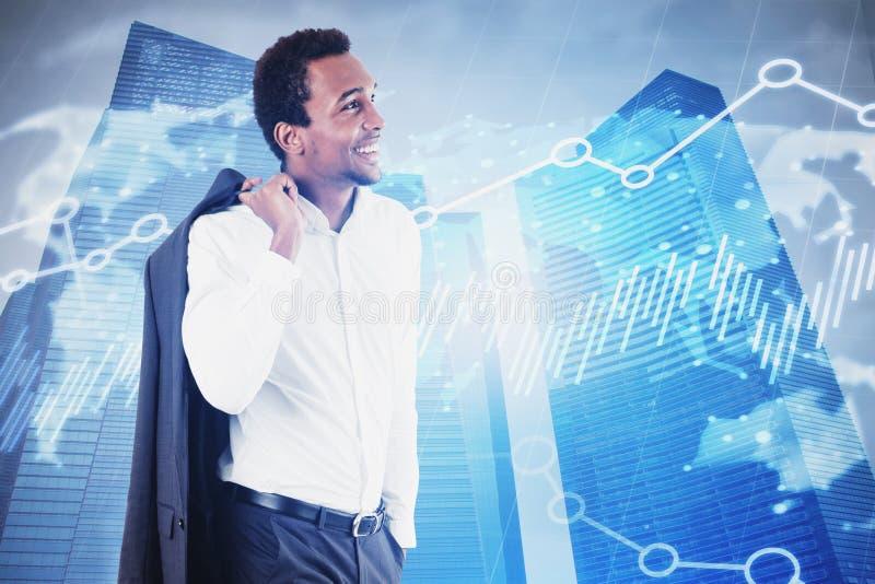 Uśmiechnięty Afrykański biznesmen, mapa i wykres, obrazy stock