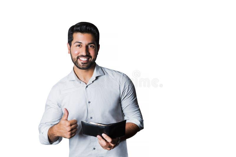Uśmiechnięty biznesmen lub pracownik z pieniądze w portflu fotografia royalty free