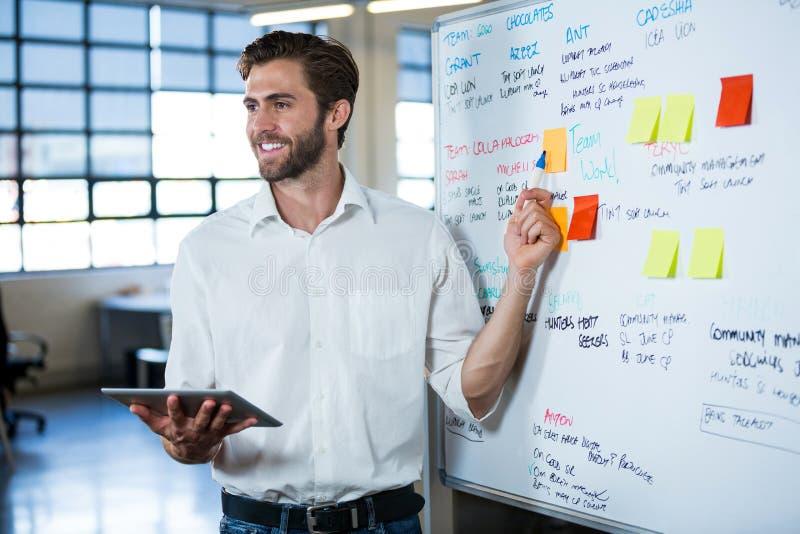 Uśmiechnięty biznesmen wskazuje na whiteboard zdjęcia stock