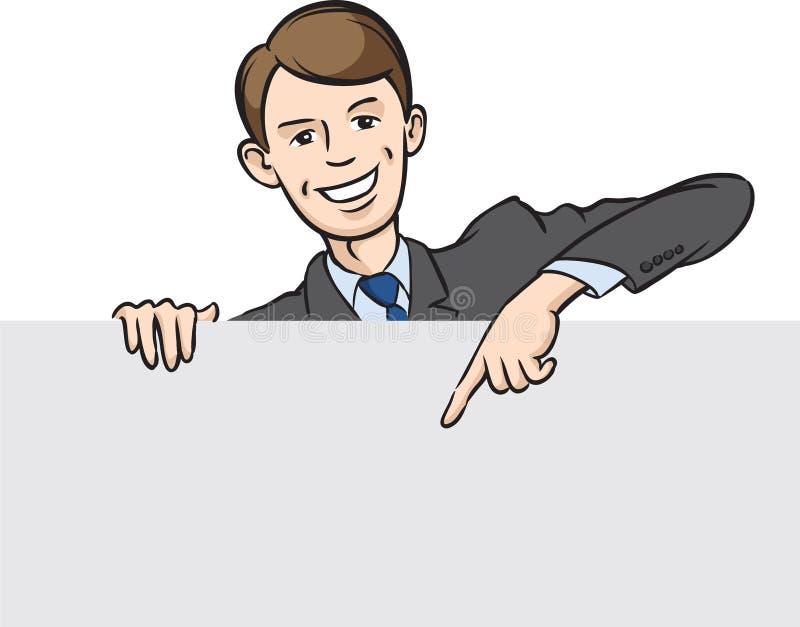Uśmiechnięty biznesmen wskazuje palec przy pustym sztandarem royalty ilustracja