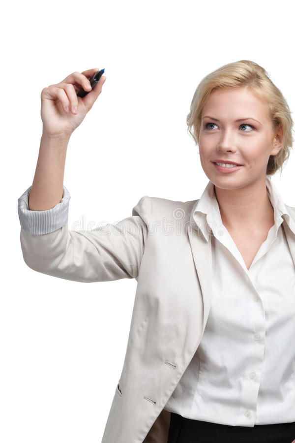Uśmiechnięty biznesowej kobiety writing na niewidzialnym ekranie obraz royalty free