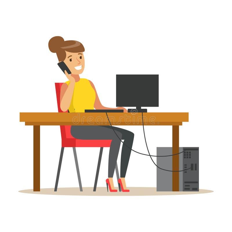 Uśmiechnięty bizneswoman opowiada na jej smartphone podczas gdy pracujący na jej komputerowej, kolorowej charakteru wektoru ilust ilustracja wektor