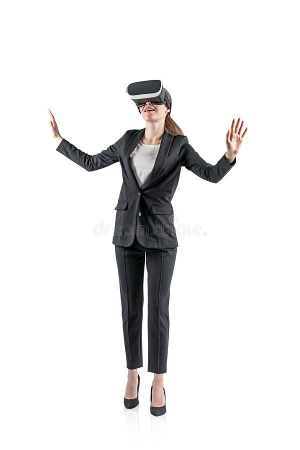 Uśmiechnięty bizneswoman w VR słuchawki fotografia stock