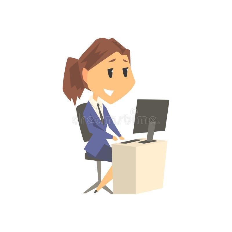 Uśmiechnięty bizneswomanu charakter w formalnej odzieży pracuje na komputerze przy jej biurowym biurkiem, biznesowa osoba przy pr ilustracji