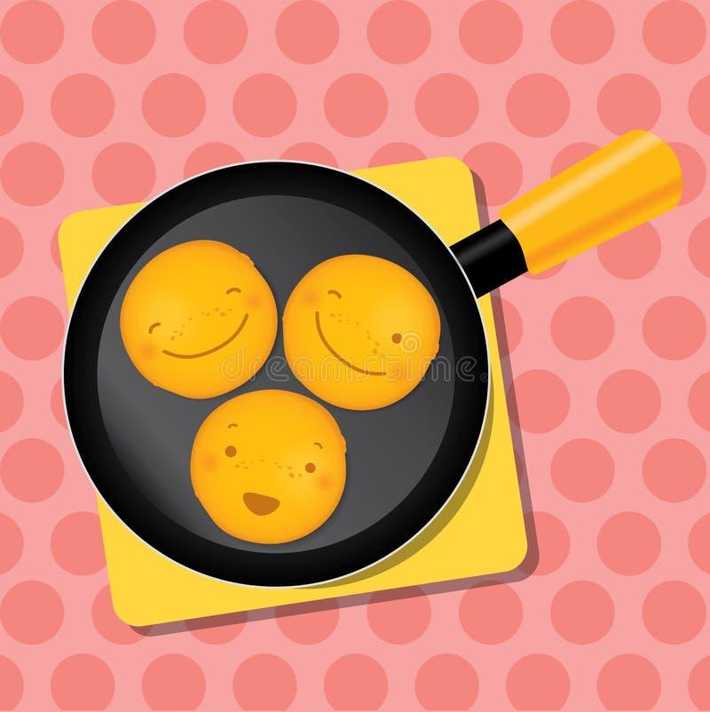 Uśmiechnięty blin na niecce dla śniadania zostaje dalej ilustracji