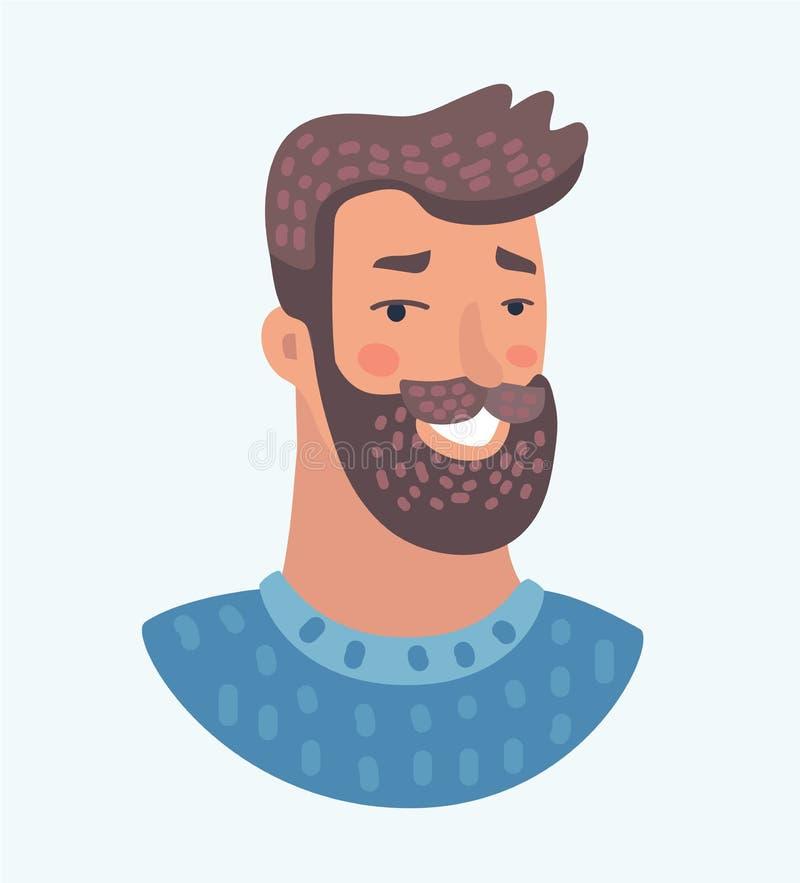 Uśmiechnięty brodaty męski charakter royalty ilustracja