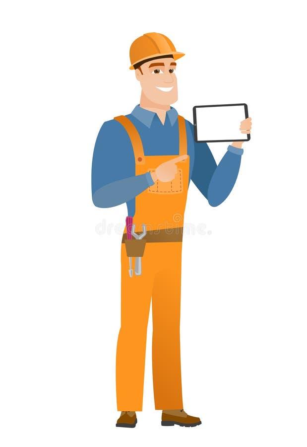Uśmiechnięty budowniczego mienia pastylki komputer ilustracja wektor