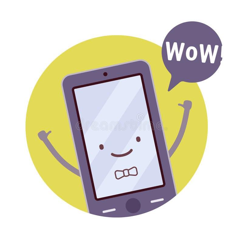 Uśmiechnięty chłopiec smartphone ilustracja wektor