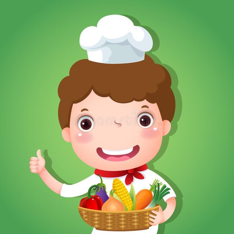 Uśmiechnięty chłopiec szef kuchni trzyma kosz warzywa royalty ilustracja