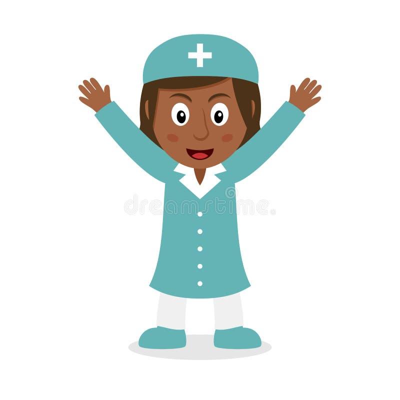 Uśmiechnięty Czarny Żeński pielęgniarka charakter ilustracja wektor