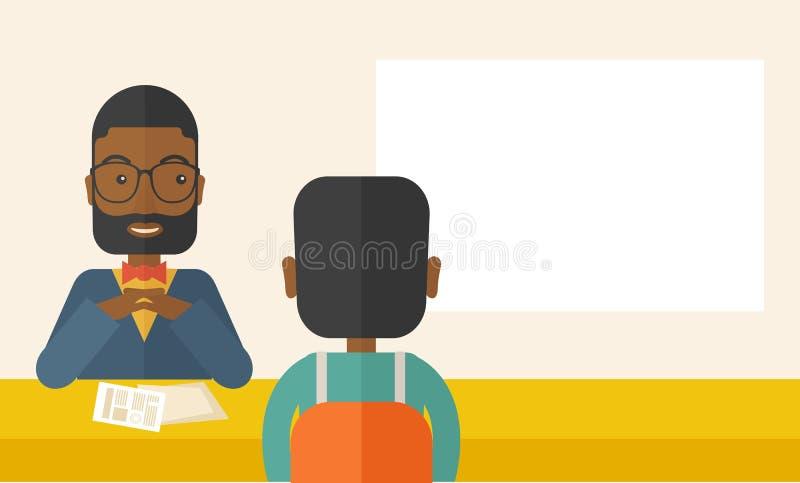 Uśmiechnięty czarny działu zasobów ludzkich kierownik przeprowadzający wywiad ilustracja wektor