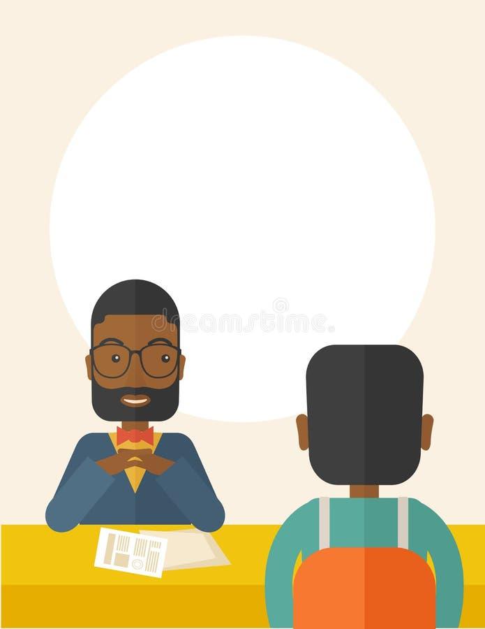Uśmiechnięty czarny działu zasobów ludzkich kierownik przeprowadzający wywiad ilustracji