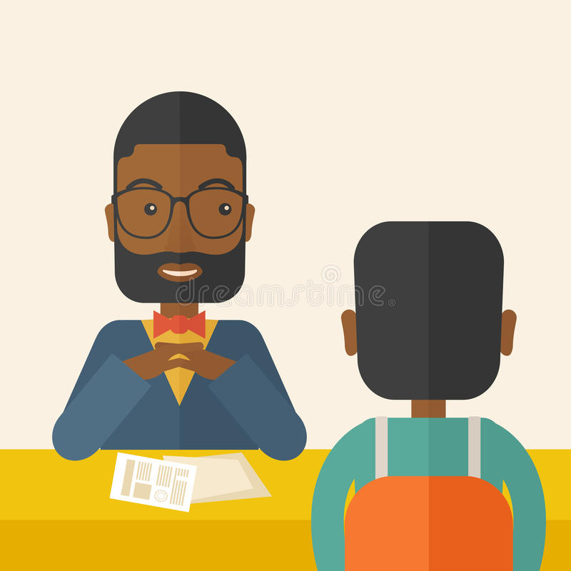 Uśmiechnięty czarny działu zasobów ludzkich kierownik przeprowadzający wywiad royalty ilustracja