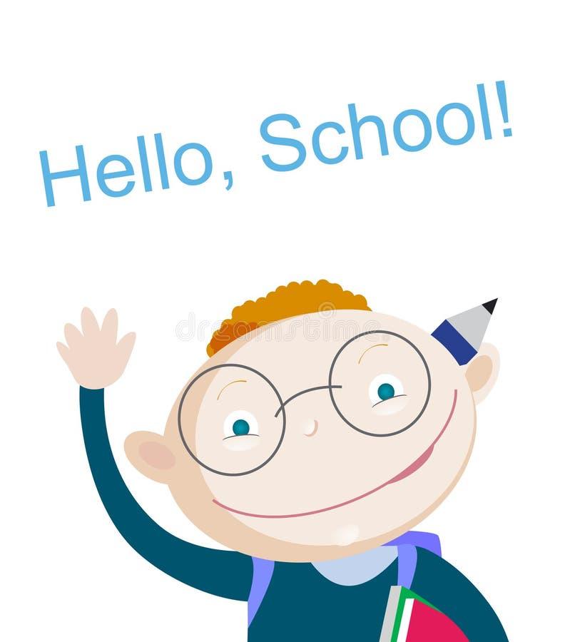 Uśmiechnięty czerwony włosiany szkolnej chłopiec mienie above i seansu notatnik z powitanie zwrota szkołą cześć Bezpłatna przestr royalty ilustracja